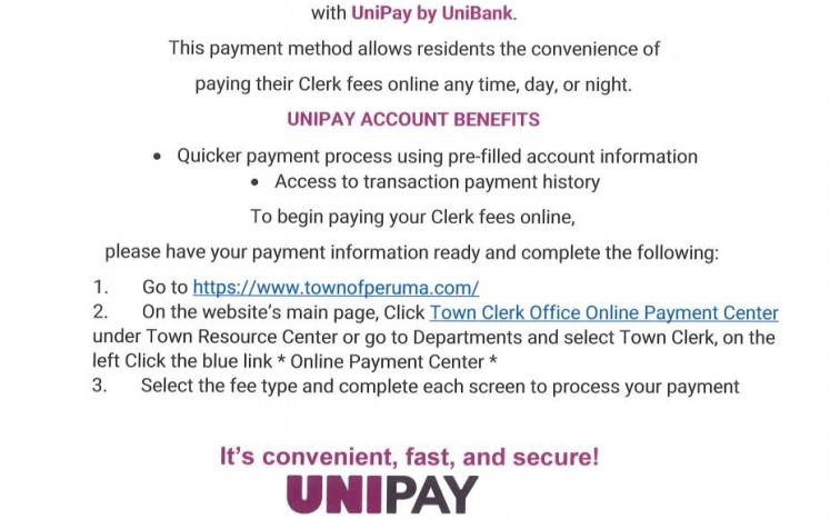 PAY PERU CLERK PAYMENTS ONLINE WITH UNIPAY!