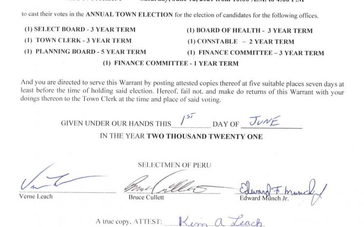 Annual Town Election Warrant June 12, 2021