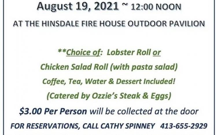 HINSDALE/PERU COUNCIL ON AGING SENIOR LUNCHEONS ARE BACK!!! August 19, 2021 ~ 12:00 NOON  AT THE HINSDALE FIRE HOUSE OUTDOOR PAV