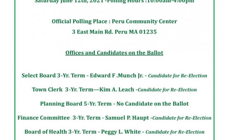 June 12, 2021 Annual Town Election Guide